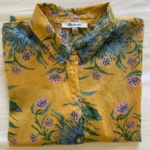 Madewell Painted Blooms Yellow Button Down Shirt